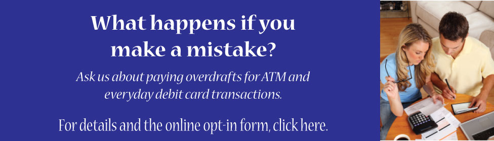 Overdraft Opt-in form, man & woman balancing account