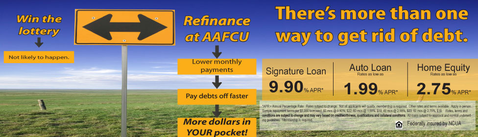 two way signpost with info about refinancing rates