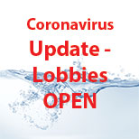 Photo of a water splash with text stating Coronavirus Update.