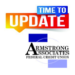 Graphic of upcoming system update for Armstrong Associates FCU