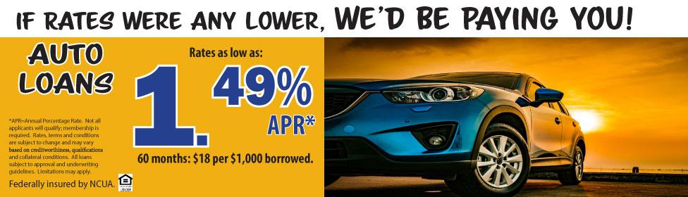 Auto loans as low as 1.49% APR