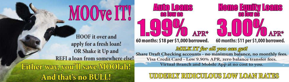 MOOve It. Hoof it over and apply for a fresh loan!